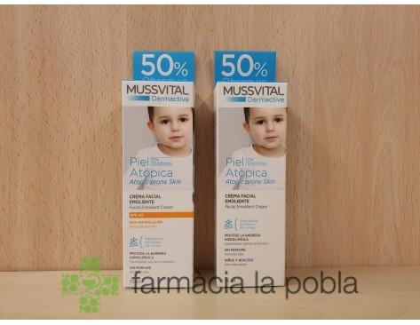 Pack Mussvital Dermactive Crema Facial Emoliente. Pieles atópicas